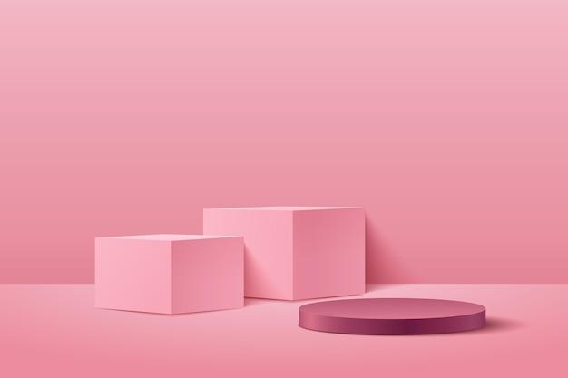 Cubo abstracto y pantalla redonda para producto en sitio web en moderno.