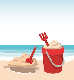 Cubo de arena y diseño de mar.