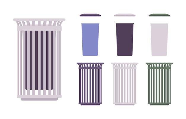 Cubo de basura al aire libre. construcción de receptáculos, bote de basura en la acera. embellecimiento de la calle de la ciudad y concepto urbano. ilustración de dibujos animados de estilo, diferentes posiciones