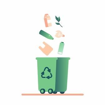 Cubo de basura verde y residuos que caen (plástico, papel, lámpara, batería, vidrio, orgánico) para reciclaje