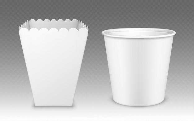 Cubo en blanco para palomitas de maíz, alas de gallina o maqueta de patas