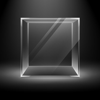 Cubo de caja de vidrio transparente vacía de vector en negro oscuro con luz de fondo