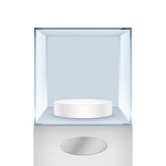 Cubo de caja de vidrio transparente vacío sobre fondo blanco.
