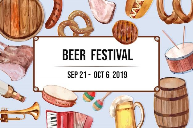 Cubo de cerveza, salchichas, pretzel, entretenimiento marco diseño elemento acuarela banner.