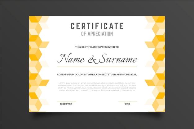 Cubo de formas en el certificado de agradecimiento