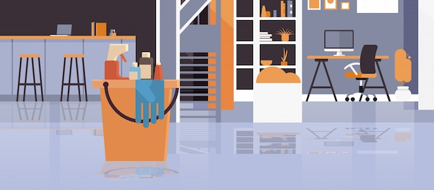 Cubo con herramientas y artículos, servicio de limpieza moderno centro de trabajo creativo, oficina creativa, ilustración interior
