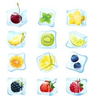Cubo de hielo de frutas en blanco, bayas congeladas para cóctel exótico de verano, ilustración
