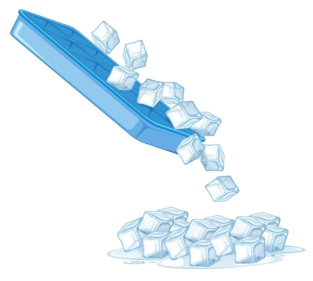 Cubo de hielo sobre fondo blanco.
