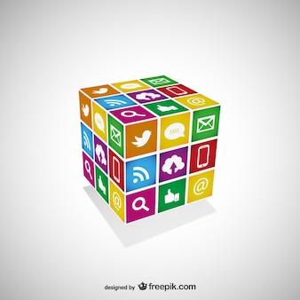 Cubo con iconos de redes sociales
