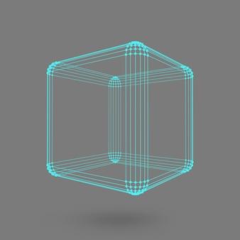 Cubo de líneas y puntos. cubo de las líneas conectadas a puntos. rejilla molecular. la cuadrícula estructural de polígonos. fondo negro. la instalación está ubicada sobre un fondo de estudio negro.