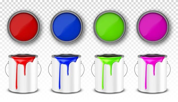 Cubo de metal de pintura, juego de latas