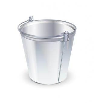 Cubo de metal vacío, aislado en blanco