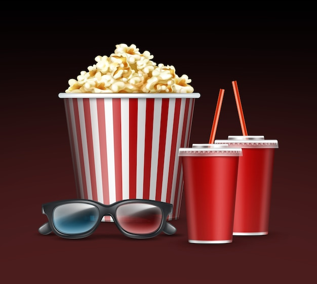 Cubo de palomitas de maíz con rayas blancas y rojas de vector con gafas 3d y dos bebidas cerca vista lateral aislada sobre fondo gris