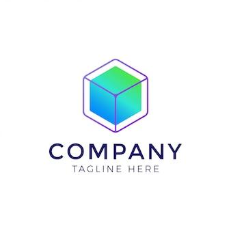 Cubo en plantilla de diseño de logotipo de fondo de polígono