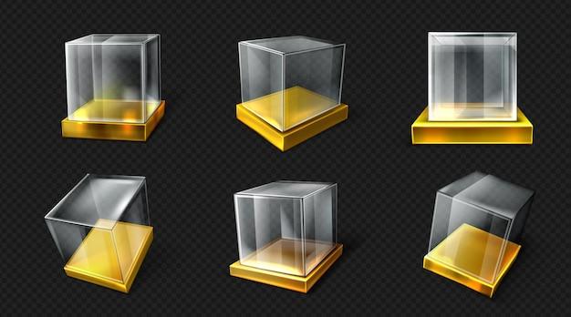 Cubo de plástico o vidrio sobre base dorada varios ángulos de vista