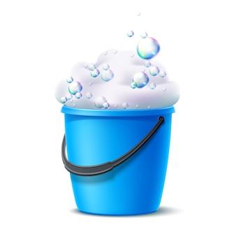 Cubo de plástico realista con espuma jabonosa con burbujas de colores para las tareas del hogar, trapeador de pisos, diseño de limpieza de polvo