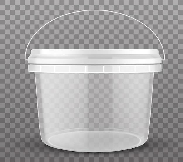 Cubo de plástico transparente