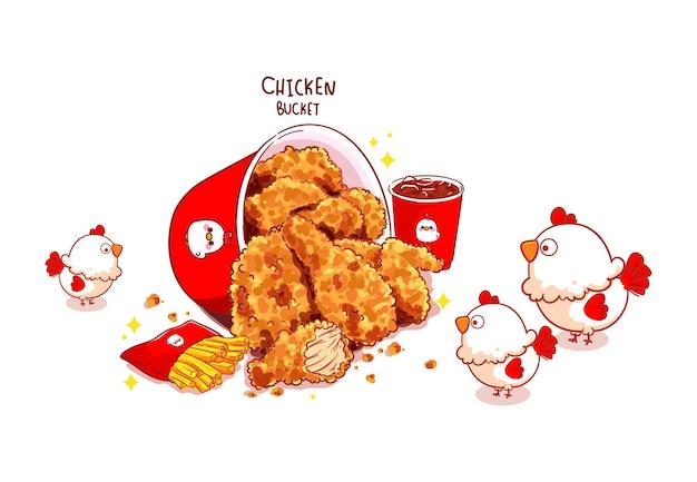 Cubo de pollo frito, muslos de pollo frito y linda ilustración de arte de dibujos animados de pollo
