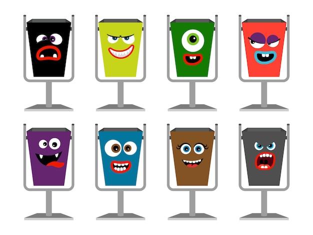 Cubos de basura con caras