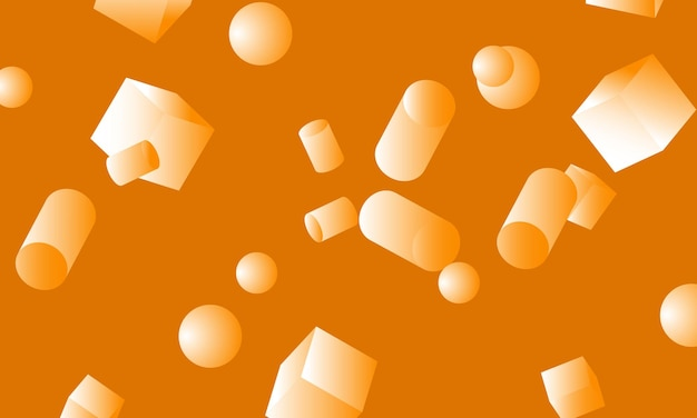 Cubos, cilindros, esferas y rectángulos naranjas 3d con degradado. fondo de pantalla para teléfono celular.