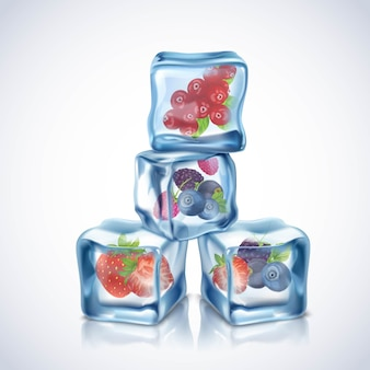 Cubos de hielo azul transparente realista con bayas dentro