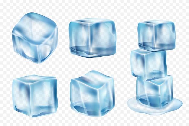 Cubos de hielo. congele el agua con reflejo de luz y salpica la plantilla de hielo realista