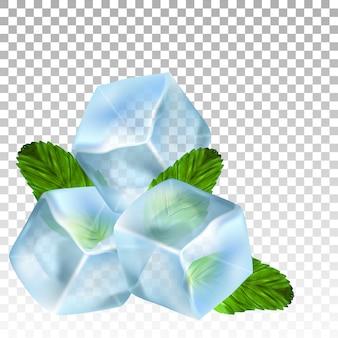 Cubos de hielo realistas y hojas de menta.