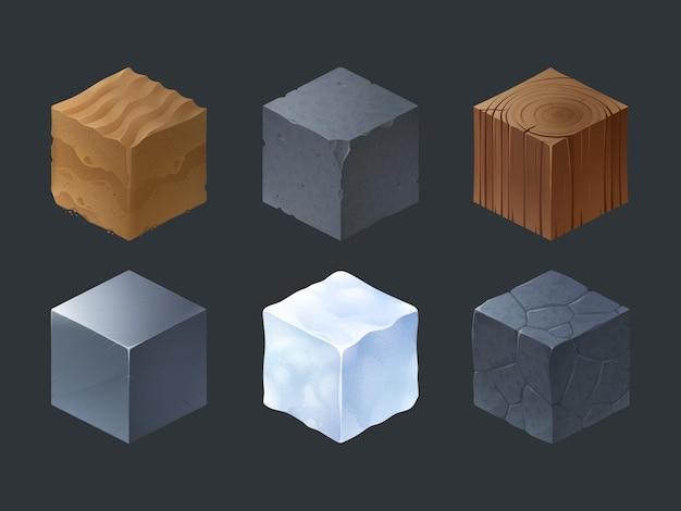 Cubos de textura isométrica para juego.