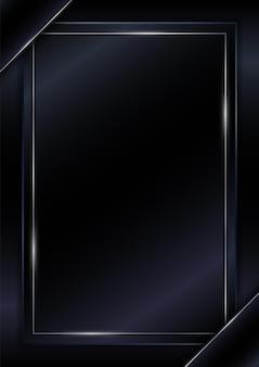 Cubra la plantilla estilo de lujo de marco de línea plateada brillante negra con espacio para texto.