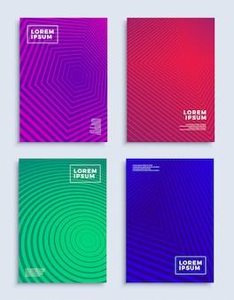 Cubre plantillas de diseño abstracto moderno conjunto futurista composiciones geométricas