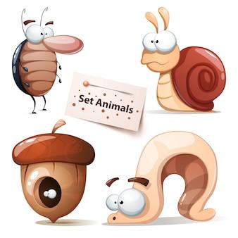Cucarachas, caracoles, gusanos de nueces.