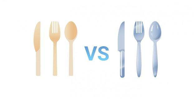 Cuchara de plástico vs acero inoxidable tenedor y cuchillo cubiertos conjunto concepto cero residuos fondo blanco plano