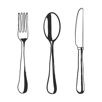 Cuchara tenedor cuchillo dibujados a mano