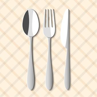 Cuchara, tenedor y cuchillo.
