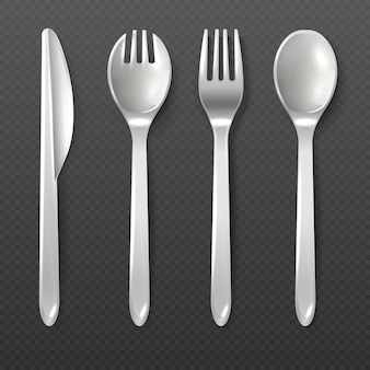 Cuchilleros, tenedor y cuchillo de plástico blanco desechables aislados vector cubiertos. ilustración de herramienta de plástico para comedor, tenedor y cuchara de cuchillo de mesa.