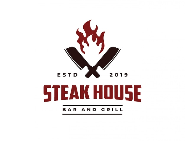 Cuchillo de cuchillo y fuego logotipo de vintage retro cafe bar steak house
