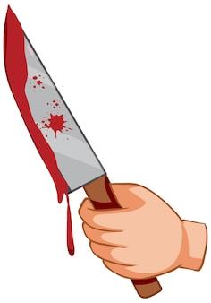 Cuchillo ensangrentado con la mano sobre fondo blanco.