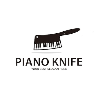 Cuchillo de piano, comida y bebida o logotipo de música