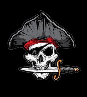 Cuchillo pirata cráneo