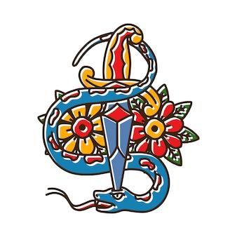 Cuchillo con tatuaje de serpiente y rosa.