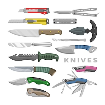 Cuchillo vector navaja herramienta de acero cuchilla de metal equipo de corte ilustración