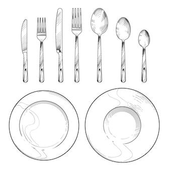 Cuchillo vintage, tenedor, cuchara y platos en estilo de grabado en croquis. sistema aislado vajilla dibujo de mano