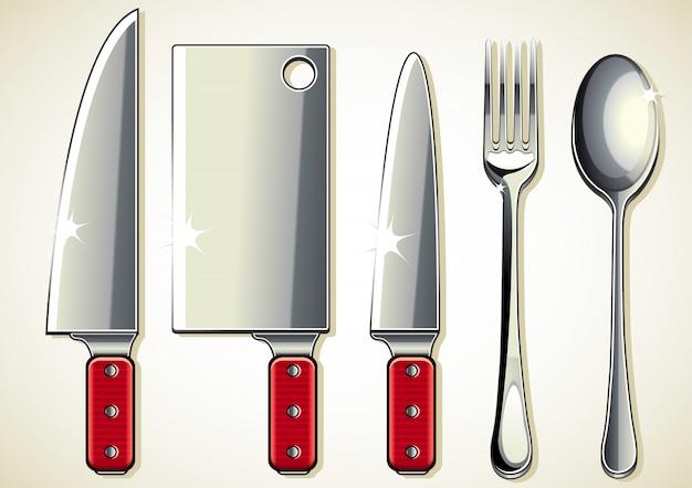 Cuchillos, tenedor y cuchara.