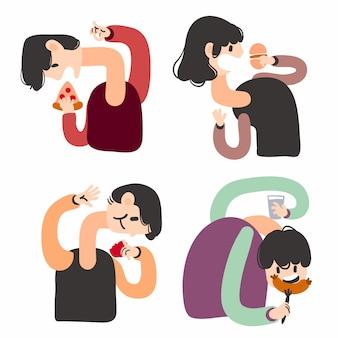 Cuello largo personas comiendo alimentos ilustración plana