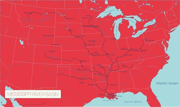 La cuenca del río mississippi en los estados unidos detallado mapa vectorial editable