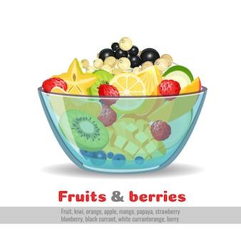 Cuenco de cristal de frutas y bayas jugosas