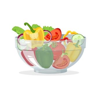 Cuenco de cristal con ilustración de ensalada de verduras