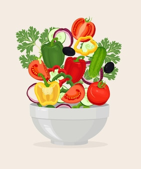 Cuenco con ilustración de ensalada de verduras