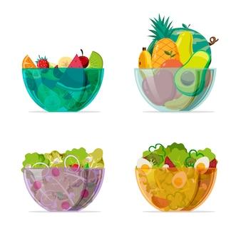 Cuencos transparentes de colores con ensalada