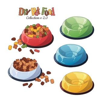 Cuencos vectoriales con comida seca para perros y gatos.